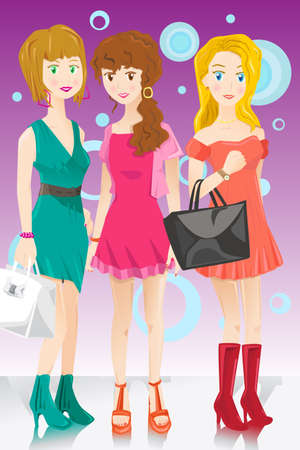 A illustration of three fashion girls Vector