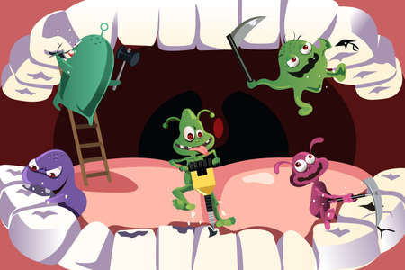 bacteria cartoon: A illustration of germs attacking teeth causing cavity