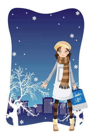 winter girl: A illustration of a beautiful girl shopping in the city during winter season