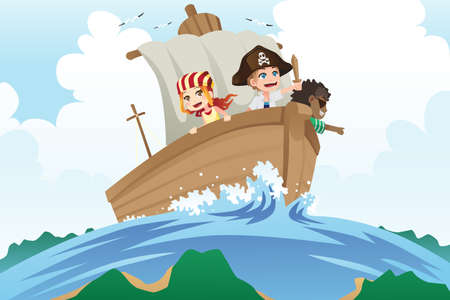 A illustration of kids dressed in pirates costumes sailing in a ship
