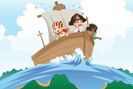 Een illustratie van kinderen gekleed in piraten kostuums zeilen in een schip Stock Illustratie