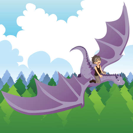 A illustration of a boy riding a flying dragon Illustration