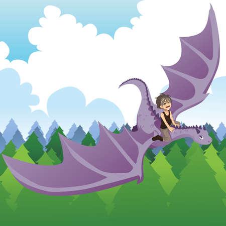 A illustration of a boy riding a flying dragon Ilustração