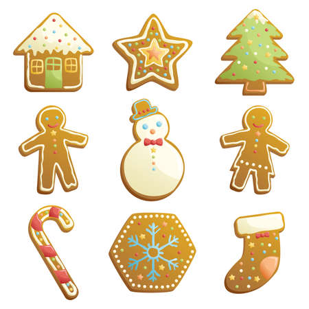 christmas house: A illustration of gingerbread cookies icons