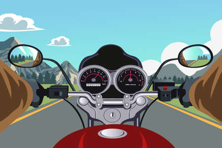 A vector illustration of a person riding a motorcycle