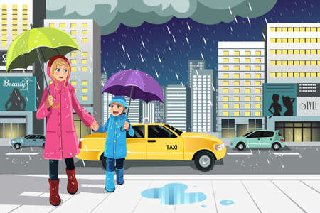 A vector illustration of a mother and a daughter walking in the rain in the city Ilustração