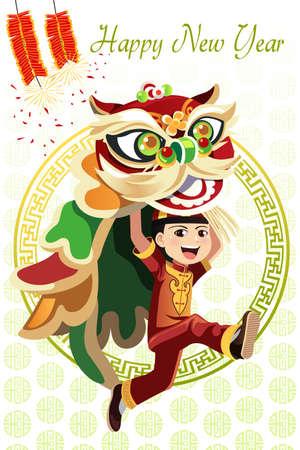 ライオン ダンスを踊る中国語の少年のベクトル イラスト