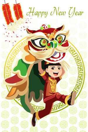 A vector illustration of a Chinese boy dancing a Lion dance Ilustração