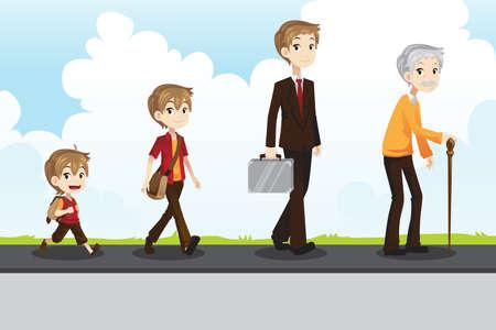 Una ilustración vectorial de una etapa diferente de la vida de un hombre de joven a viejo Ilustración de vector
