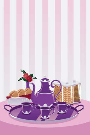 A vector illustration of a teapot and cup set on a table