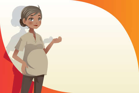 A vector illustration of a pregnant woman with copyspace  Ilustracja