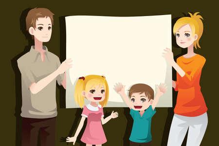 genitore figlio: Una illustrazione vettoriale di una famiglia di tenere un foglio bianco