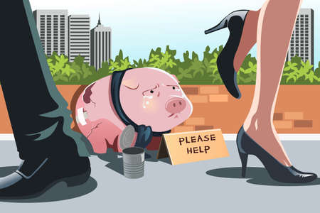 A vector illustration of a piggy bank panhandling on the sidewalk, can be used to portray the concept of financial crisis or recession Vectores