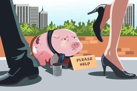 pobres: Una ilustraci�n vectorial de una alcanc�a mendigando en la acera, se puede utilizar para representar el concepto de crisis financiera o recesi�n