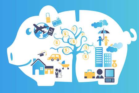Een vector illustratie van een spaarpot met alle toekomstige financiële planning