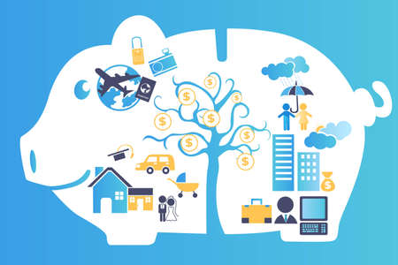 Una ilustración vectorial de una hucha que contiene toda la planificación financiera en el futuro