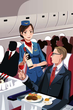 passenger: A vector illustration of a flight attendant serving a passenger in an airplane