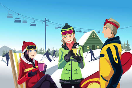 A vector illustration of friends skiing in a ski resort