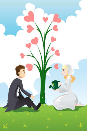 A vector illustration of a wedding couple watering the tree of love