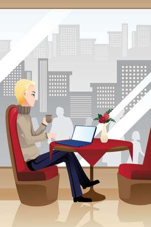 Een vector illustratie van een man met behulp van een laptop in een internet cafe
