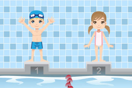 A vector illustration of a boy and a girl swimmer in a swimming competition Vettoriali
