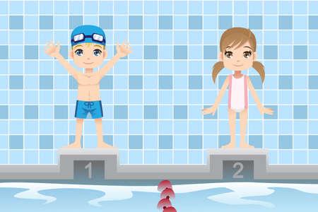 ni�os nadando: Una ilustraci�n vectorial de un ni�o y una ni�a en un nadador de competici�n de nataci�n Vectores