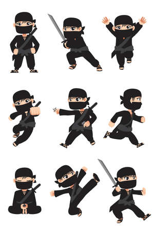 A vector illustration of different poses of a kid ninja Çizim