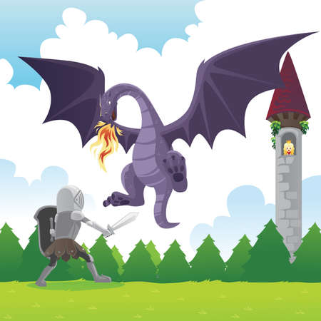 cartoon knight: A vector illustration of a knight fighting a dragon to save a princess
