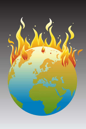 fire damage: A illustration of the burning earth, a global warming concept