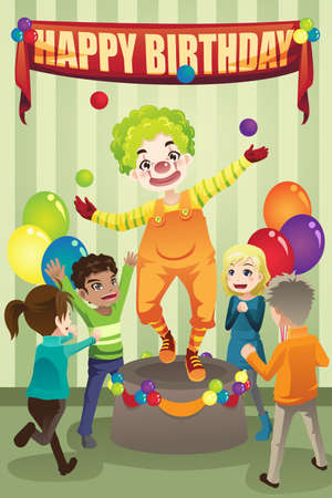 A vector illustration of a birthday party with a clown Vettoriali