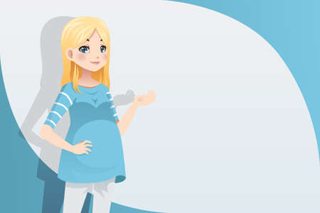 A vector illustration of a pregnant woman with copyspace