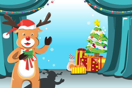 A illustration of a Christmas design with a reindeer Vector
