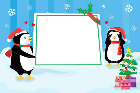 blank poster: A illustration of a Christmas design with penguins holding a blank poster Illustration