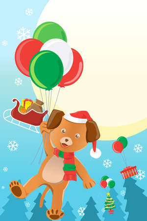 A illustration of a Christmas design with a dog holding balloons Vettoriali