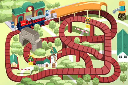 wood railroad: A illustration of a miniature train toy track Illustration
