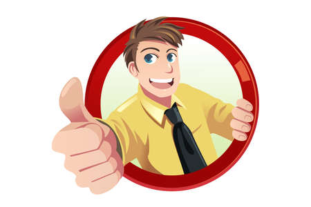A illustration of a businessman with his thumbs up