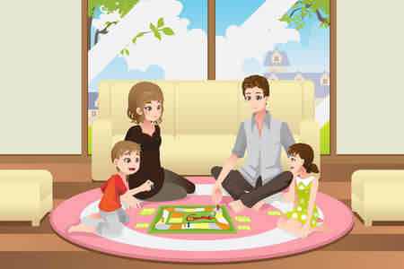 A illustration of a happy family playing a board game at home