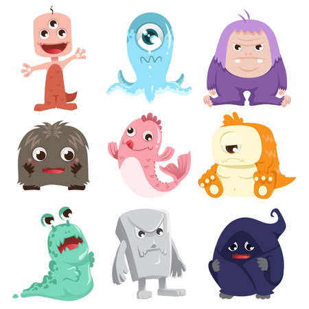 A illustration of a collection of cute monsters characters Ilustracja