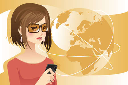A illustration of a woman holding a phone Vector