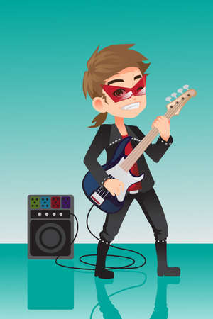 A illustration of a kid rocker playing electric guitar Vector