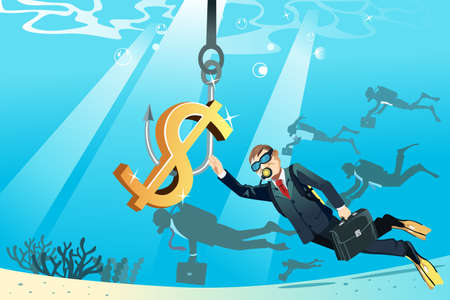 A illustration of a business concept of a businessman swimming under the water trying to reach a bait of money