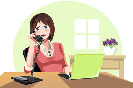business woman phone: A illustration of a businesswoman working in the office