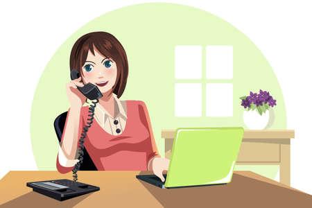 hablando por celular: Una ilustración de una empresaria trabajando en la oficina