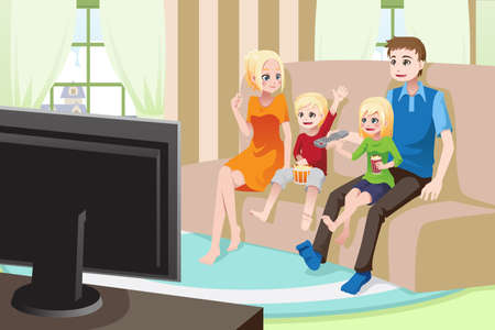 watching tv: A illustration of a family watching moviestelevision at home