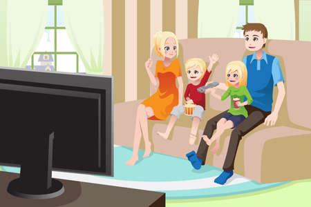 Una ilustración de una familia viendo películas / televisión en casa