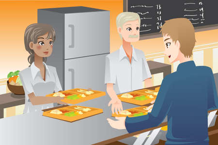 cafeterias: A illustration of food servers serving food to customers  Illustration