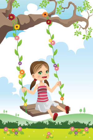 kids playing outside: A illustration of a cute little girl swinging on a tree
