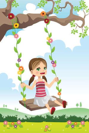 Een illustratie van een schattig klein meisje swingen op een boom