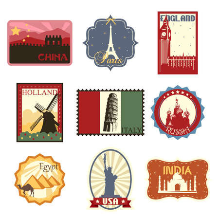 A illustration of world famous travel badges or labels