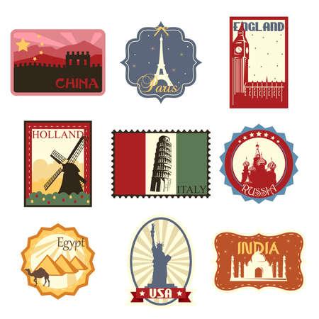 A illustration of world famous travel badges or labels